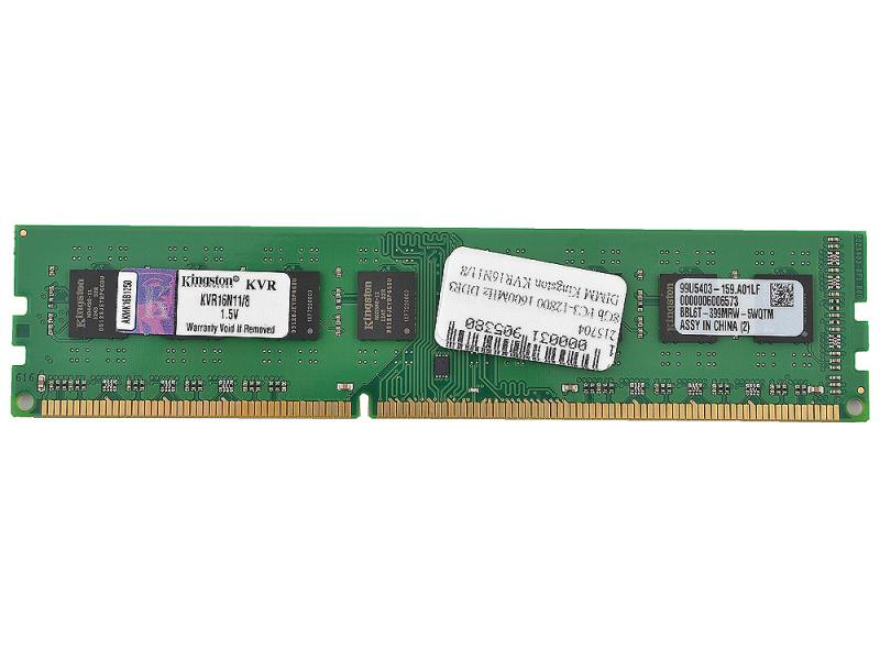 KINGSTON PC3 12800 DIMM DDR3 1600MHZ 8GB KVR16N11 8